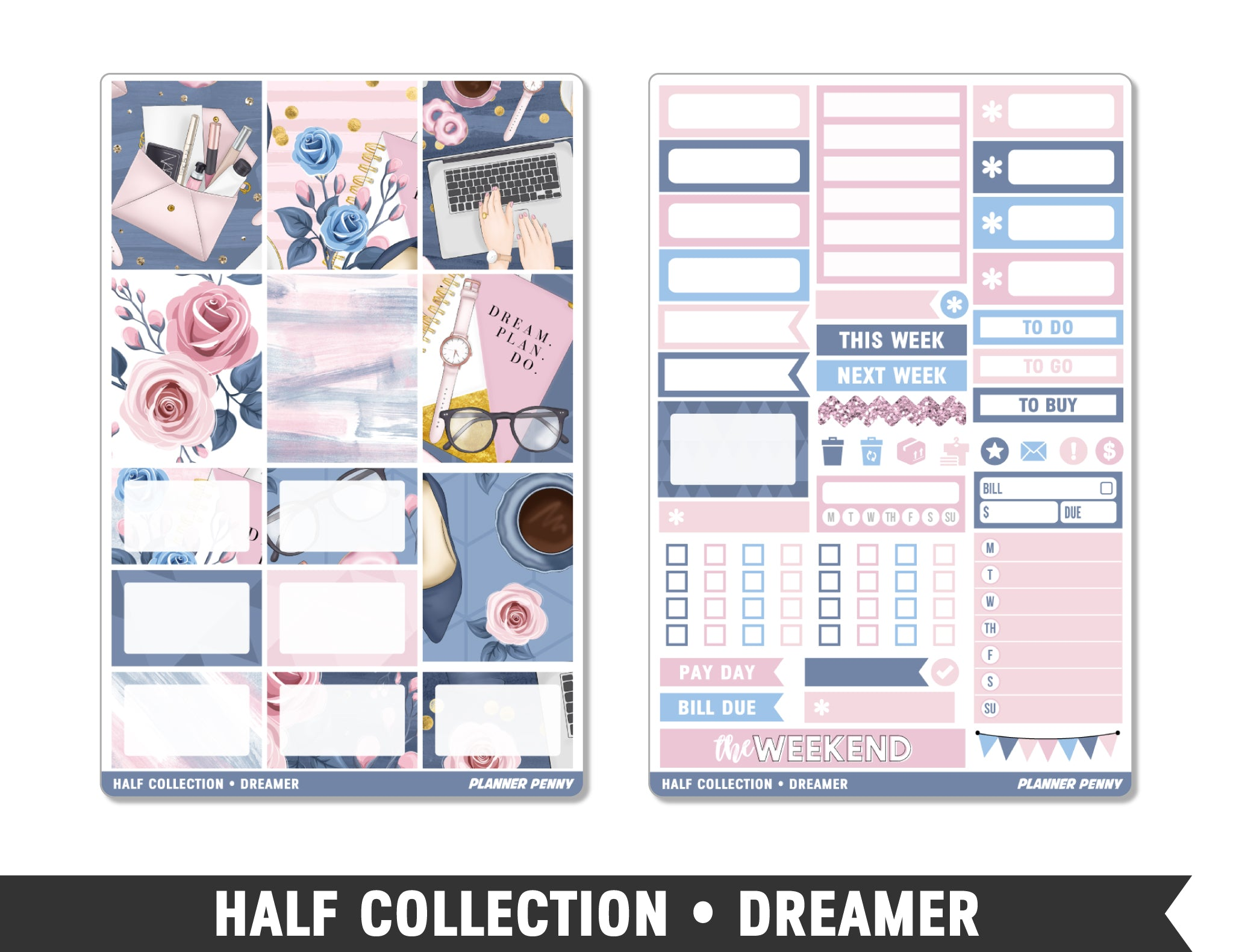 Half Collection • Dreamer • Weekly Spread Planner Stickers - Planner Penny