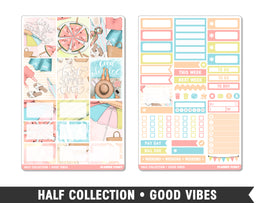 Half Collection • Good Vibes • Weekly Spread Planner Stickers - Planner Penny