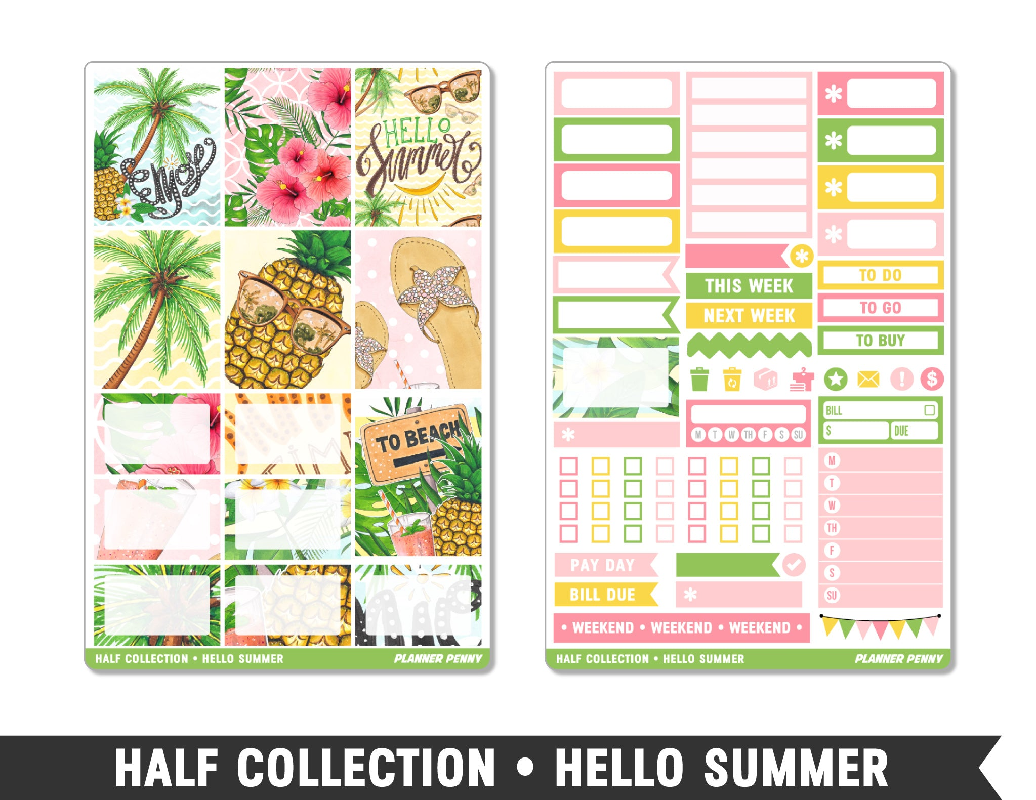 Half Collection • Hello Summer • Weekly Spread Planner Stickers - Planner Penny