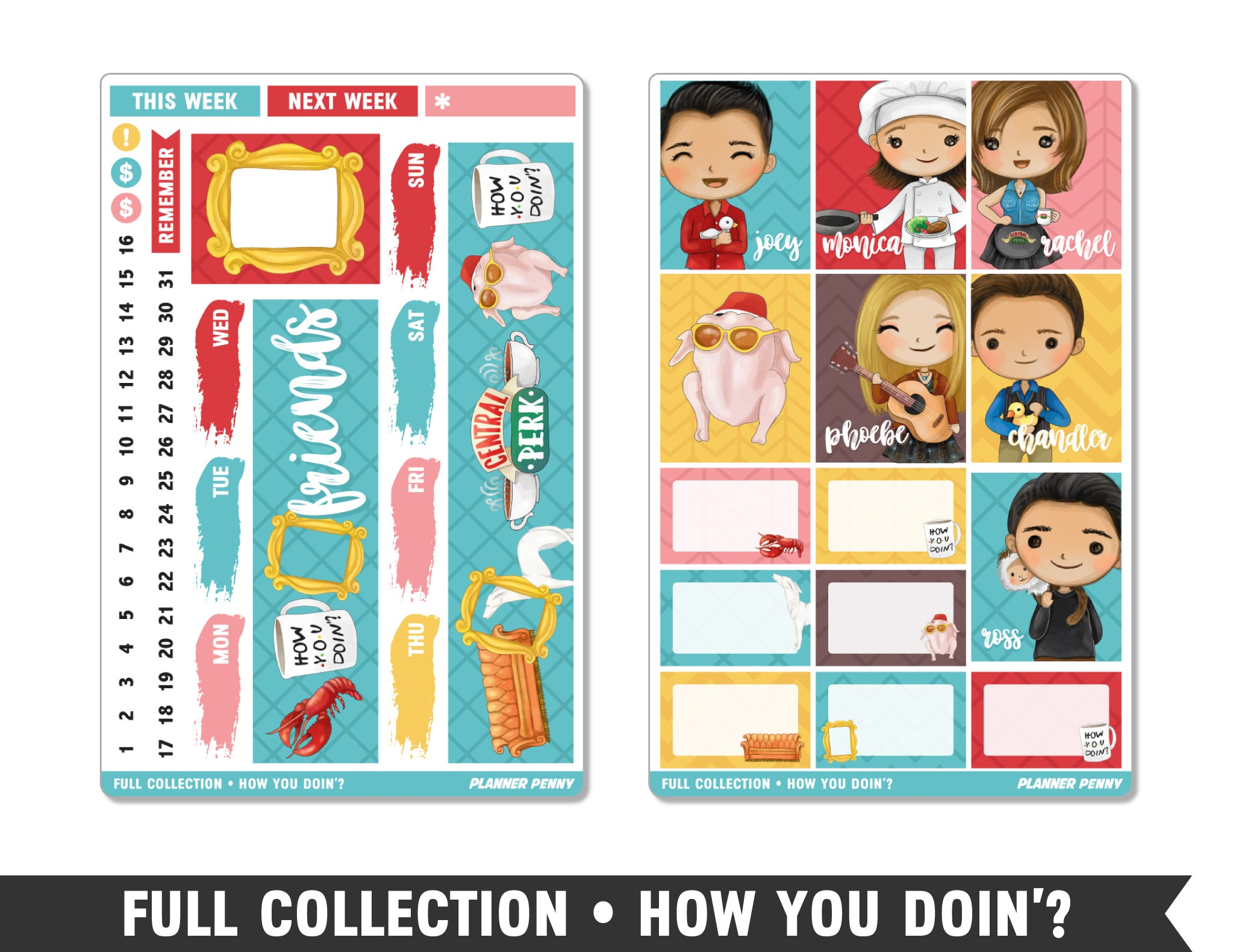 Full Collection • How You Doin'? • Weekly Spread Planner Stickers - Planner Penny
