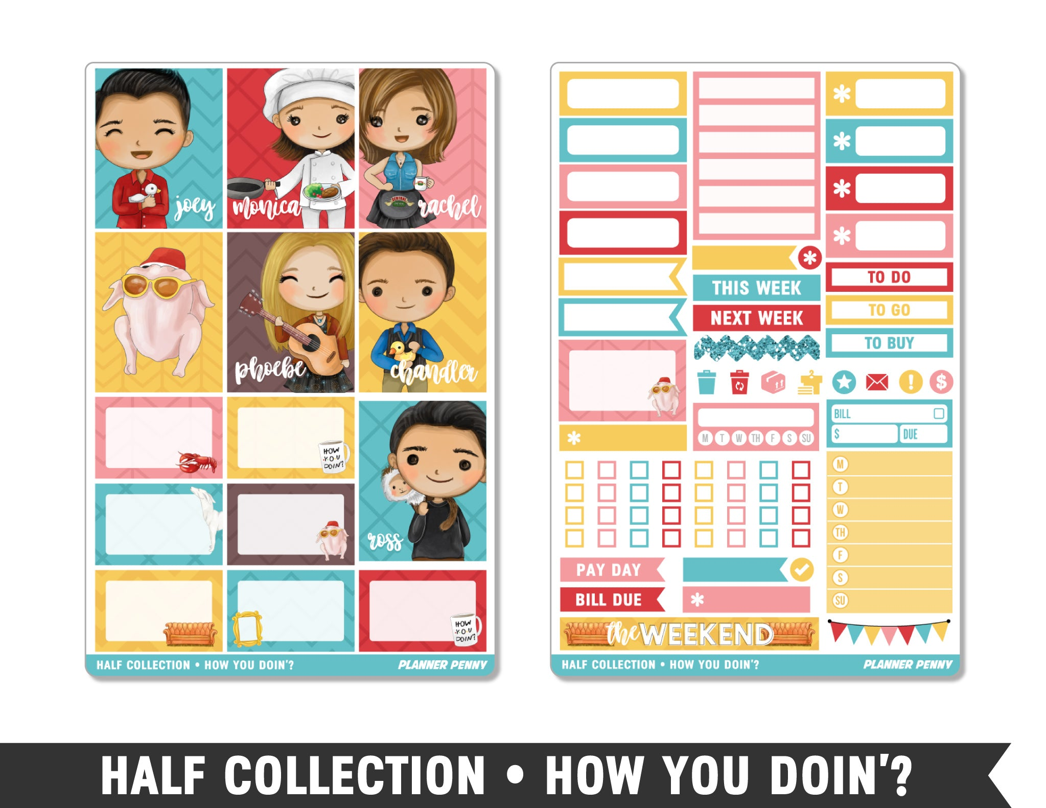 Half Collection • How You Doin'? • Weekly Spread Planner Stickers - Planner Penny