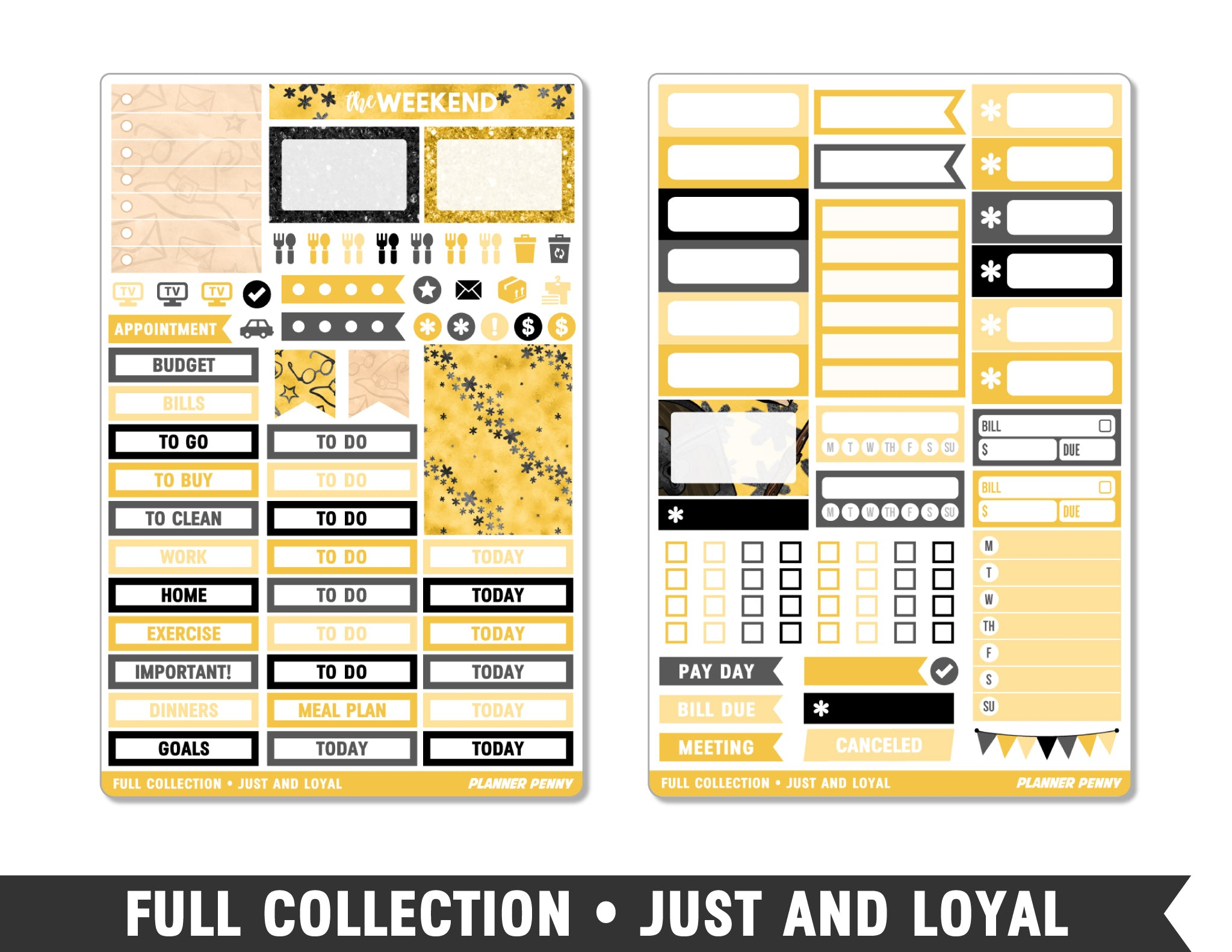 Full Collection • Just and Loyal • Weekly Spread Planner Stickers - Planner Penny