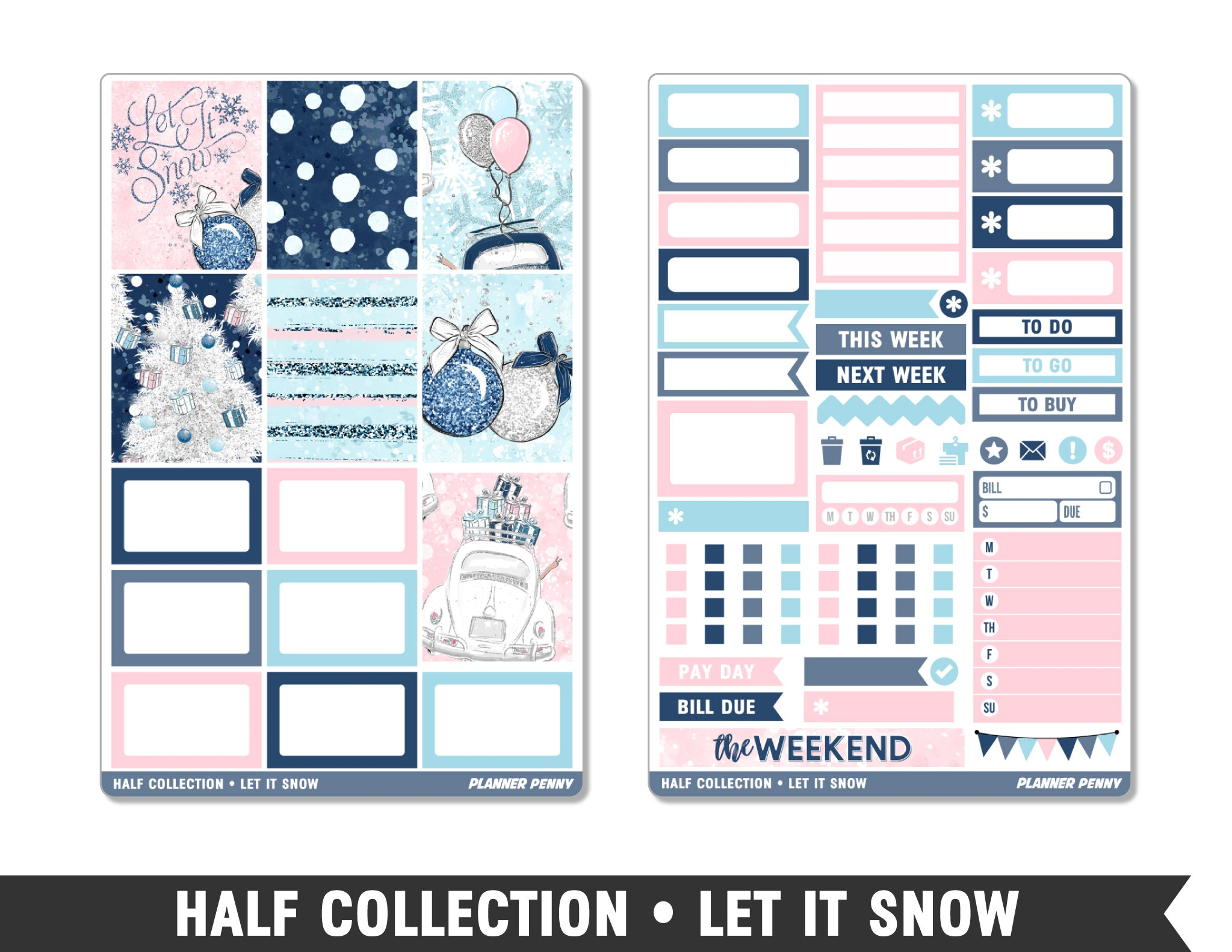 Half Collection • Let It Snow • Weekly Spread Planner Stickers - Planner Penny