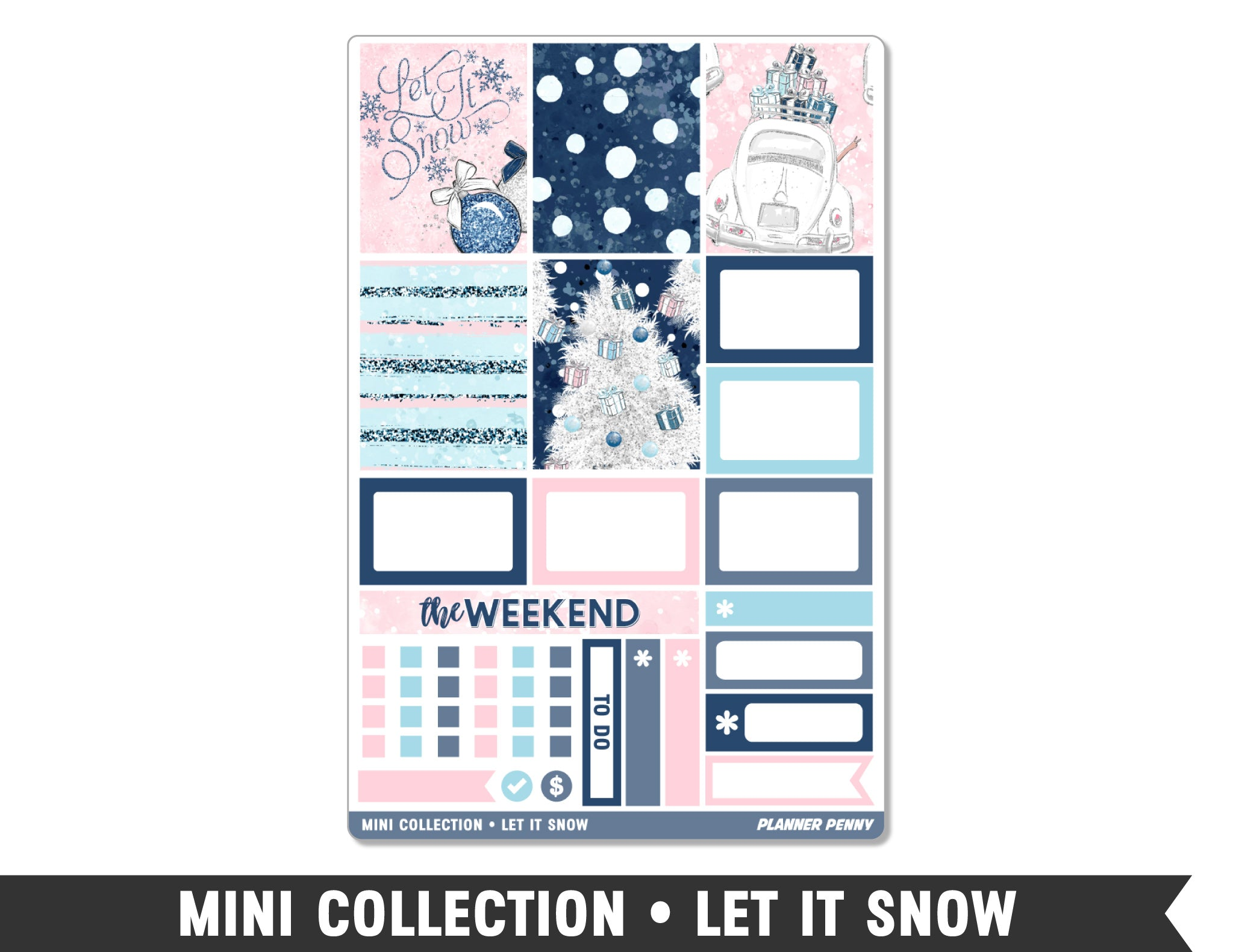Mini Collection • Let It Snow • Weekly Spread Planner Stickers - Planner Penny