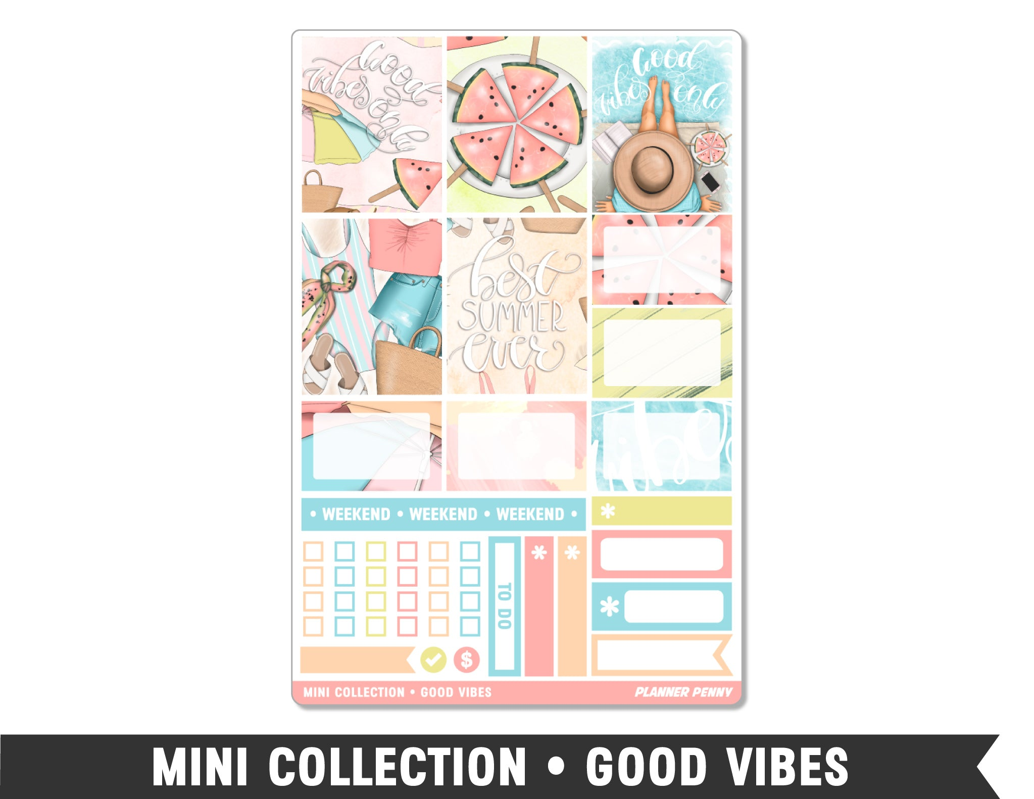 Mini Collection • Good Vibes • Weekly Spread Planner Stickers - Planner Penny