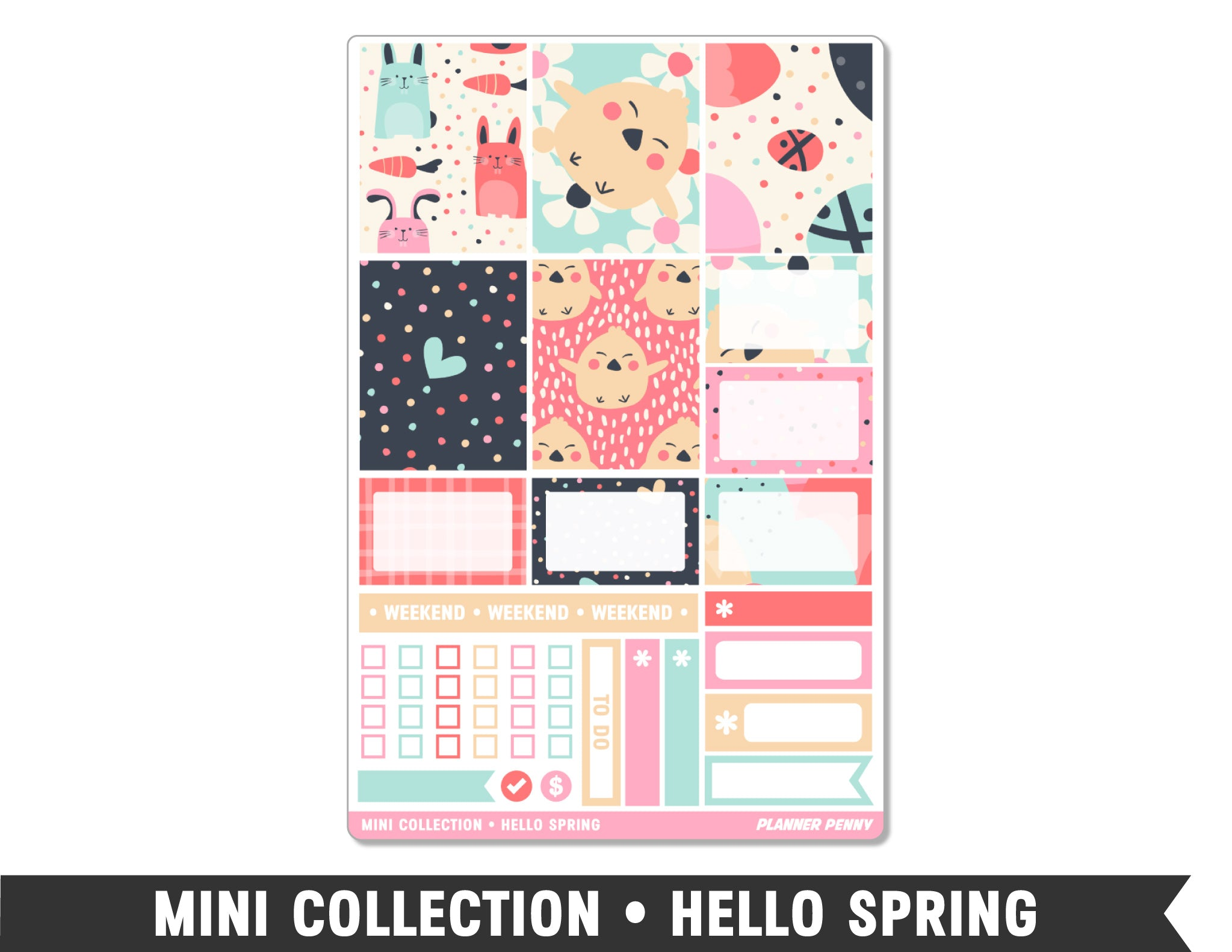 Mini Collection • Hello Spring • Weekly Spread Planner Stickers - Planner Penny