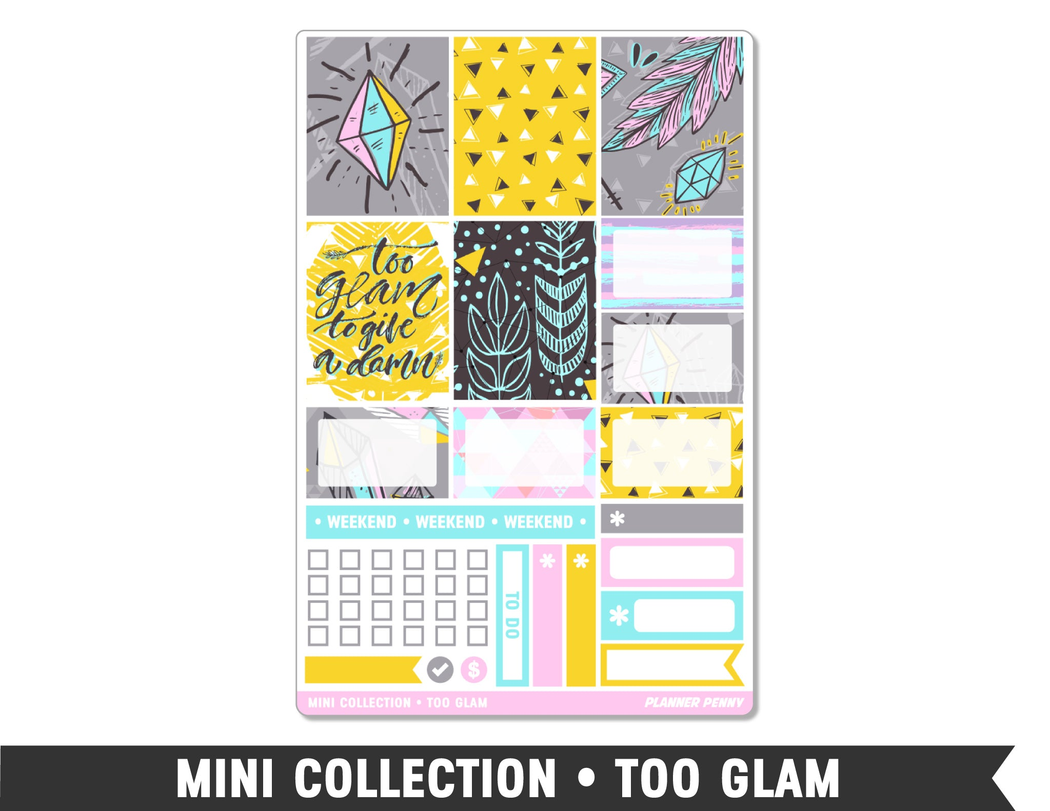 Mini Collection • Too Glam • Weekly Spread Planner Stickers - Planner Penny