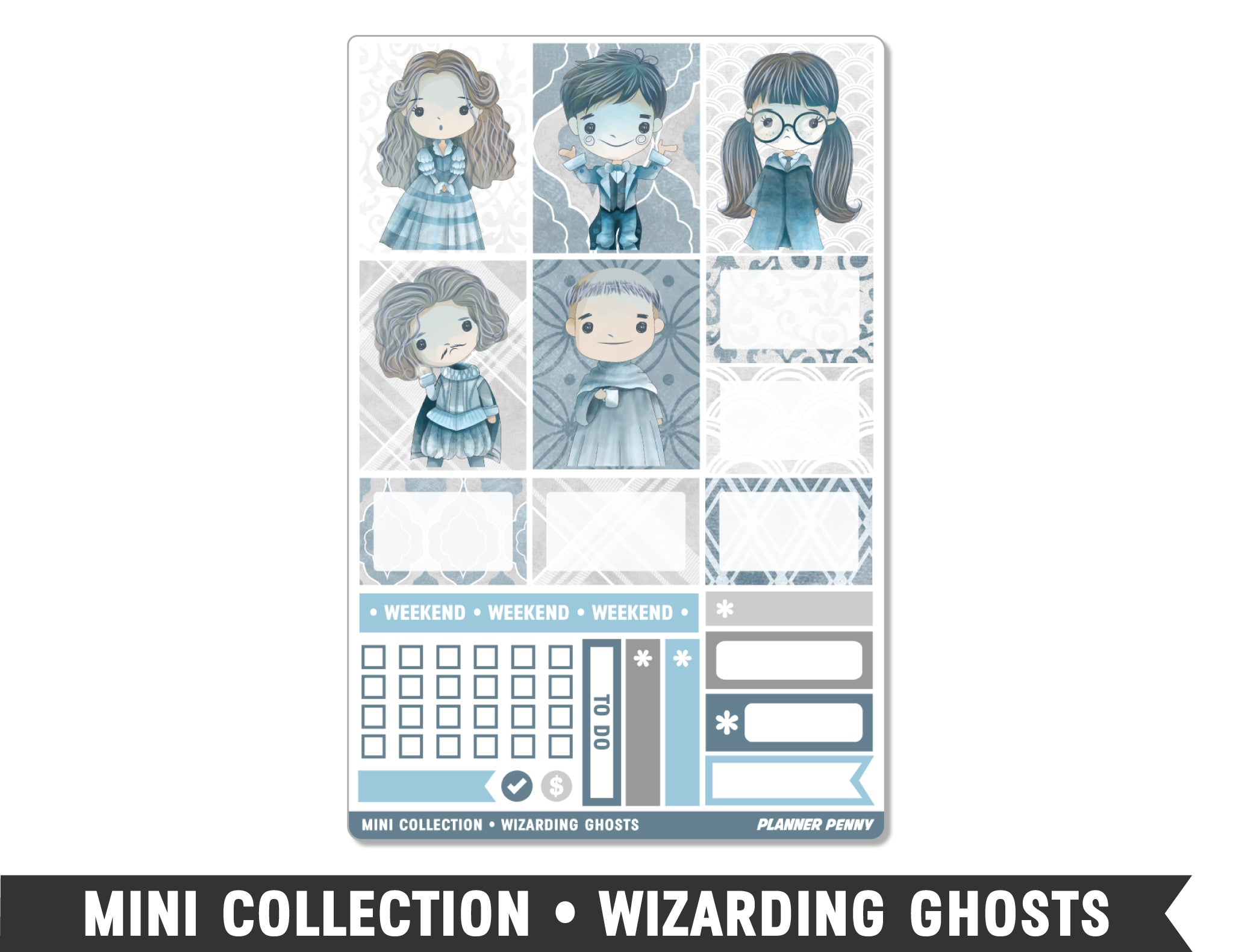 Mini Collection • Wizarding Ghosts • Weekly Spread Planner Stickers - Planner Penny
