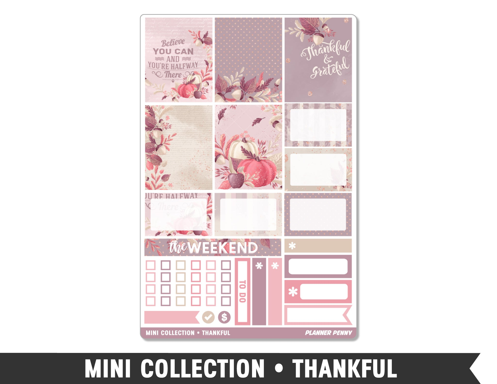 Mini Collection • Thankful • Weekly Spread Planner Stickers - Planner Penny