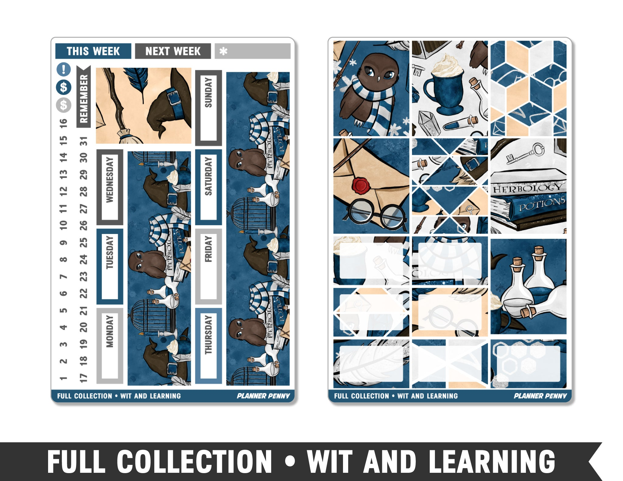 Full Collection • Wit and Learning • Weekly Spread Planner Stickers - Planner Penny