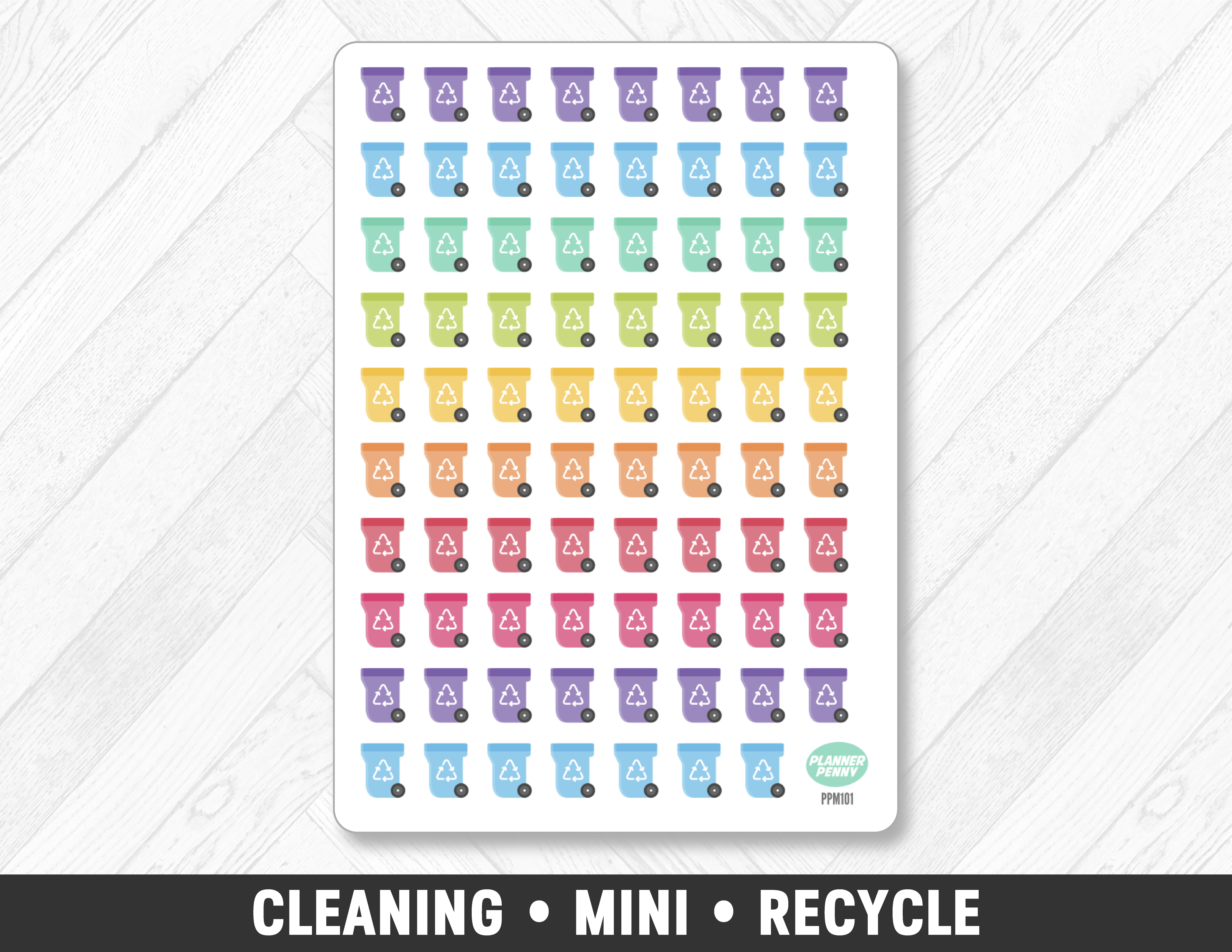 Cleaning • Mini Recycle Planner Stickers - Planner Penny