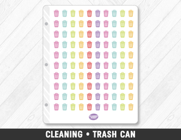 Cleaning • Trash Can Planner Stickers - Planner Penny