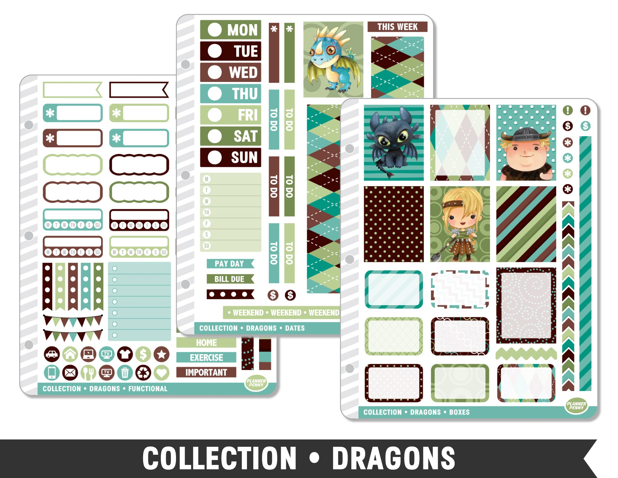 Collection • Dragons Planner Stickers - Planner Penny
