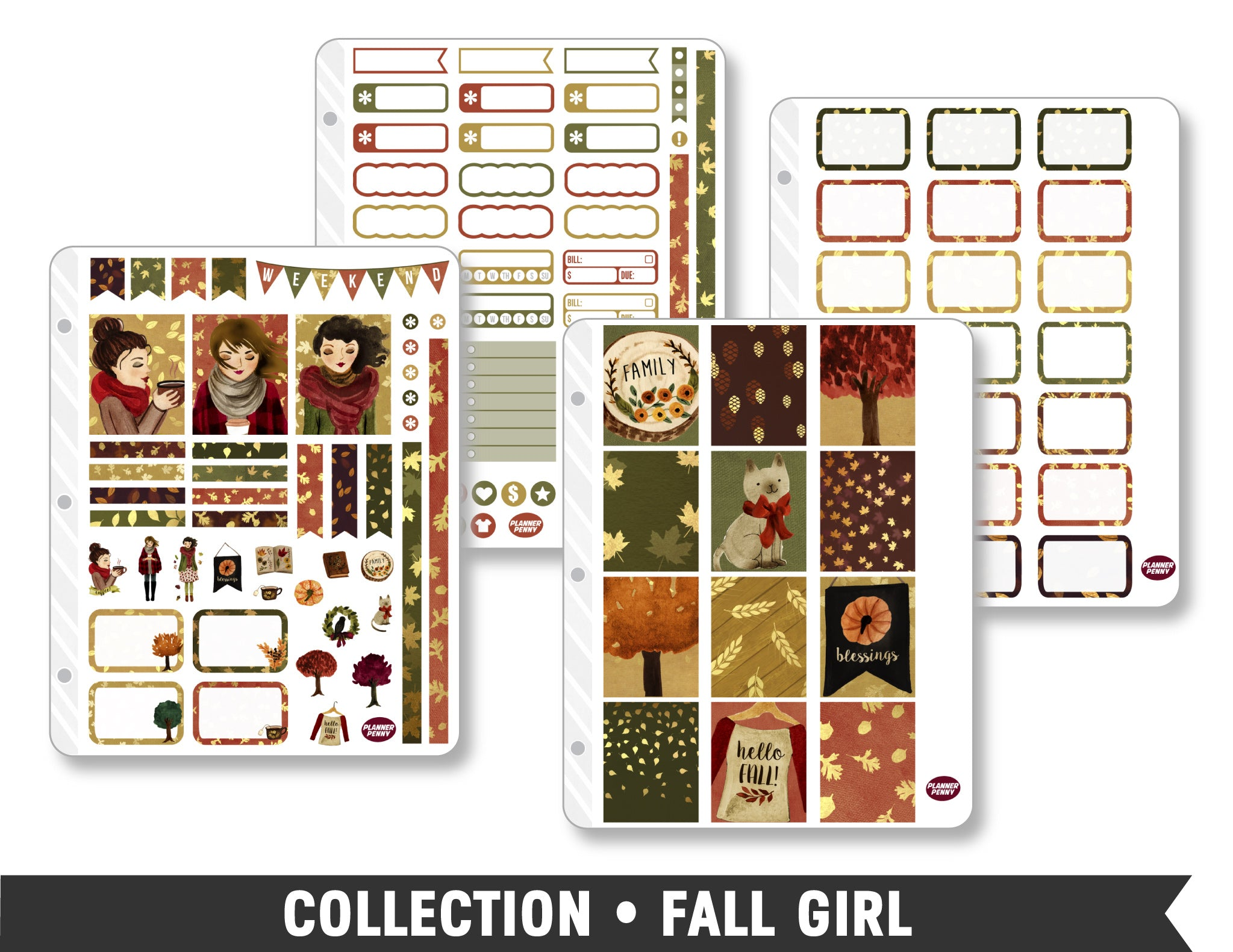 Full Collection • Fall Girl Planner Stickers - Planner Penny
