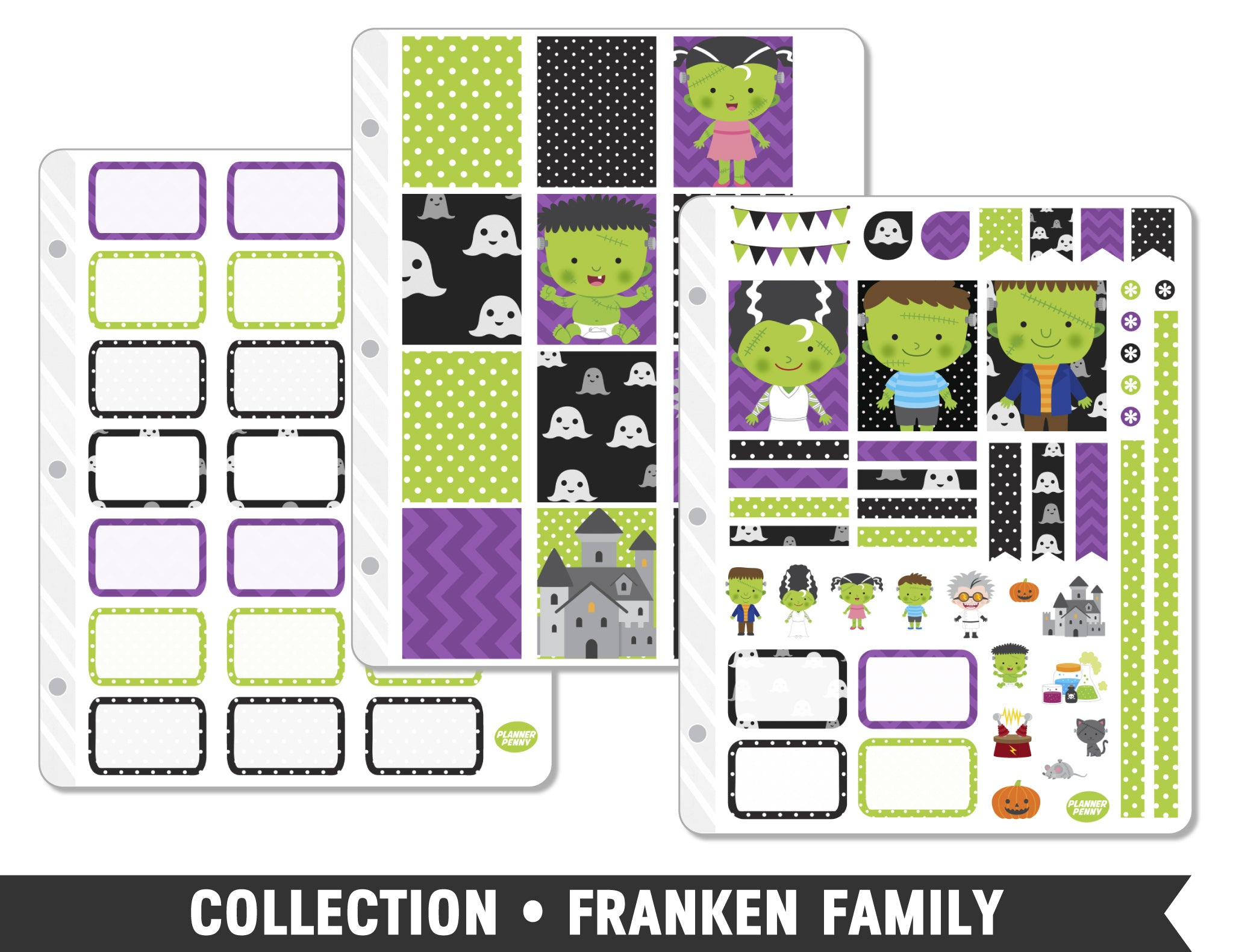 Full Collection • Franken Family Planner Stickers - Planner Penny