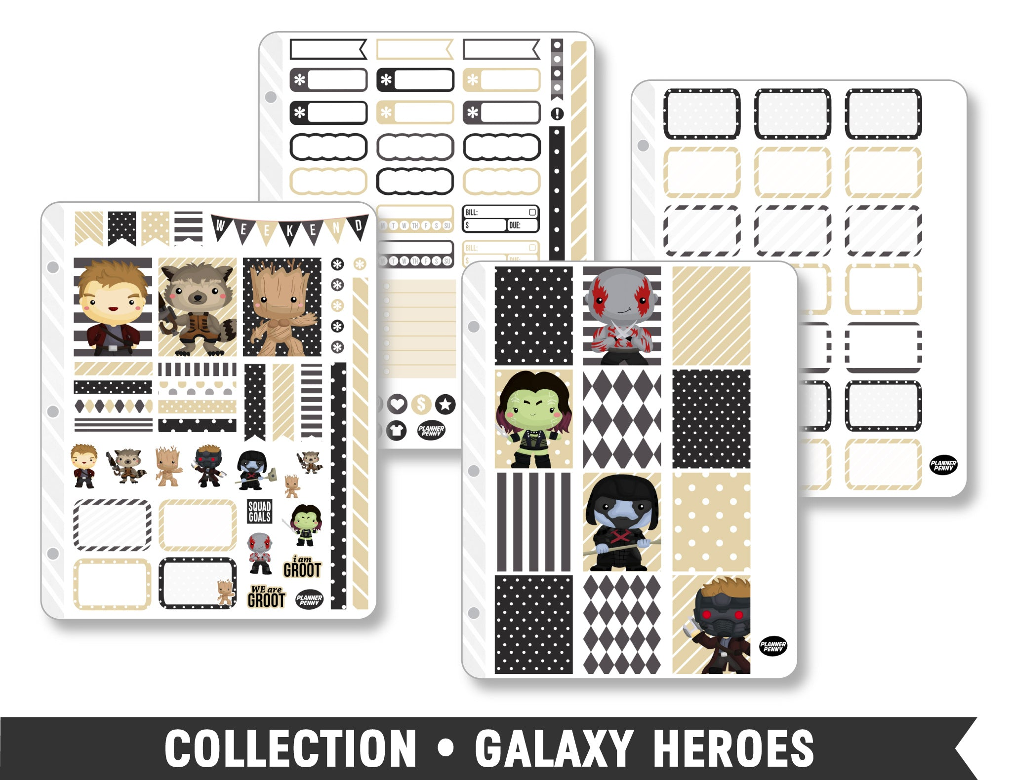 Full Collection • Galaxy Heroes Planner Stickers - Planner Penny