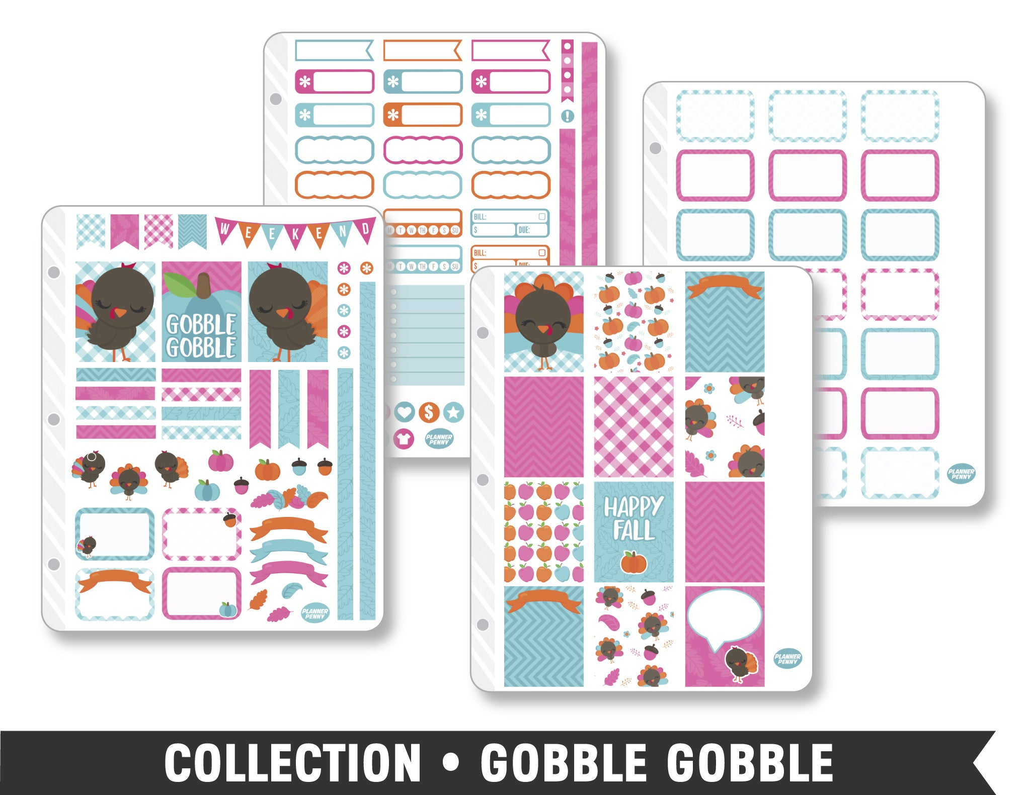 Full Collection • Gobble Gobble Planner Stickers - Planner Penny