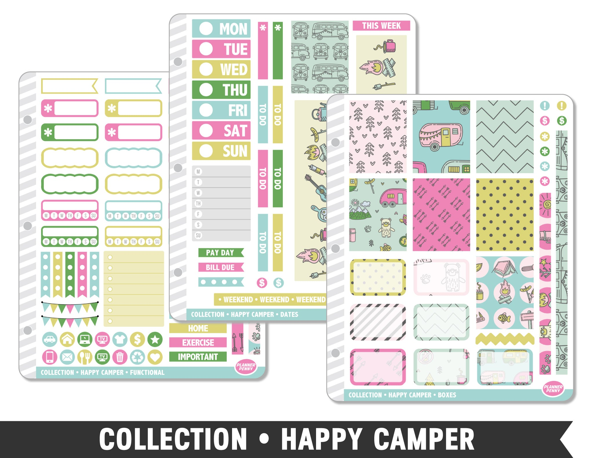 Collection • Happy Camper Planner Stickers - Planner Penny