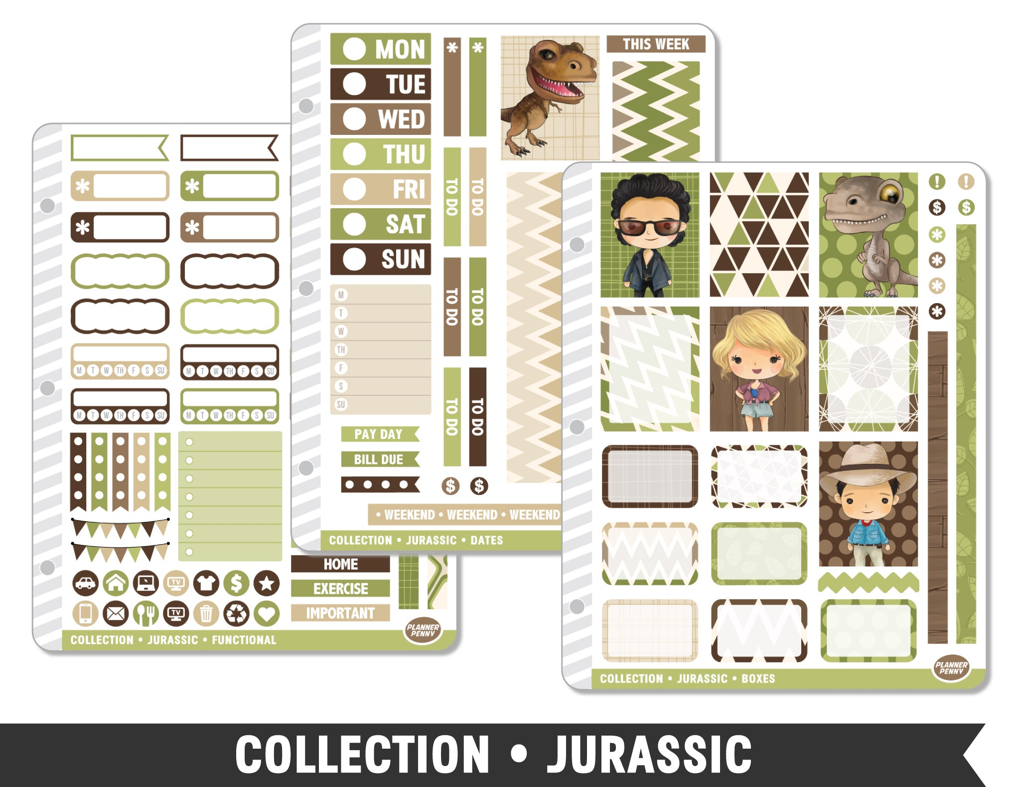 Full Collection • Jurassic Planner Stickers - Planner Penny