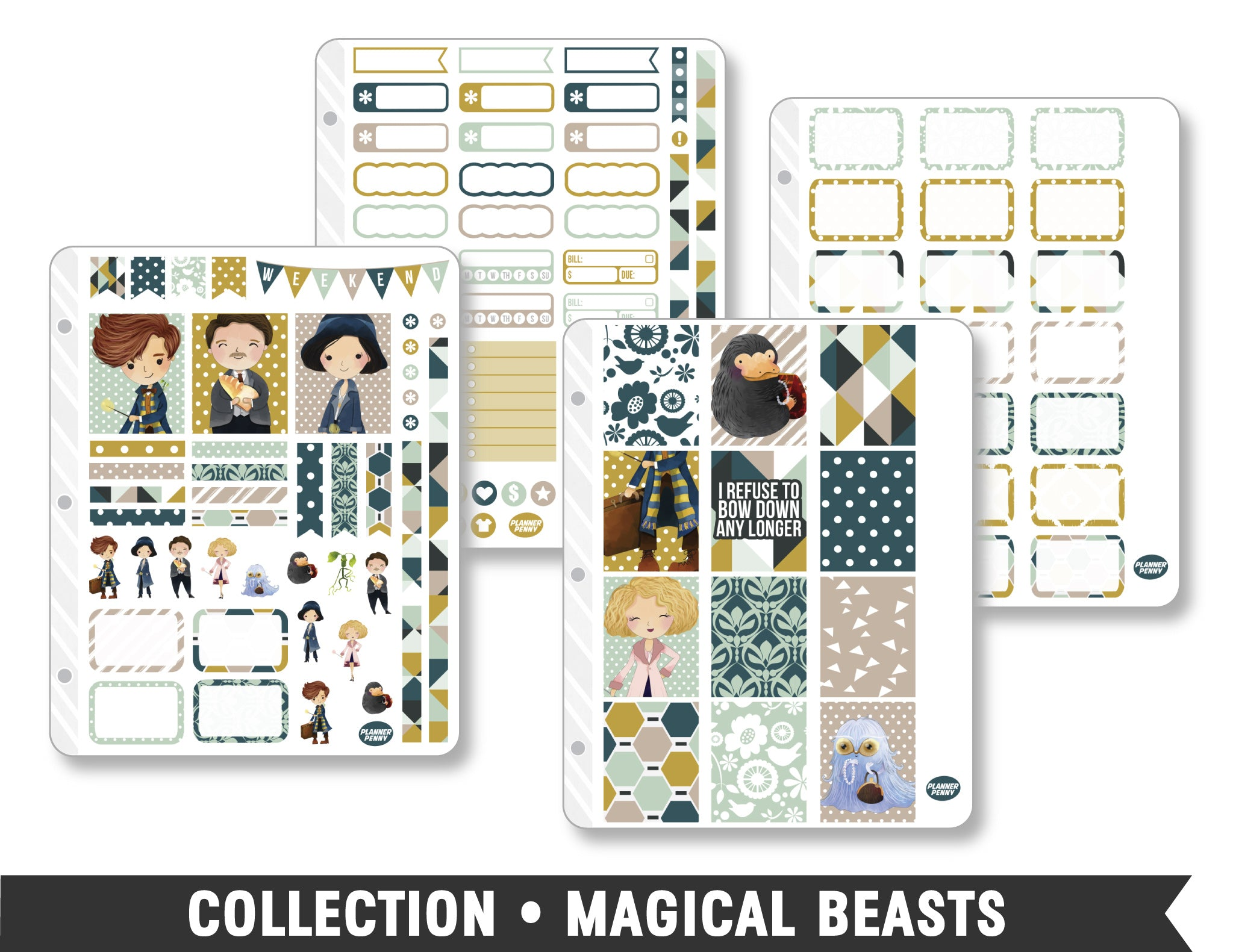 Full Collection • Magical Beasts Planner Stickers - Planner Penny