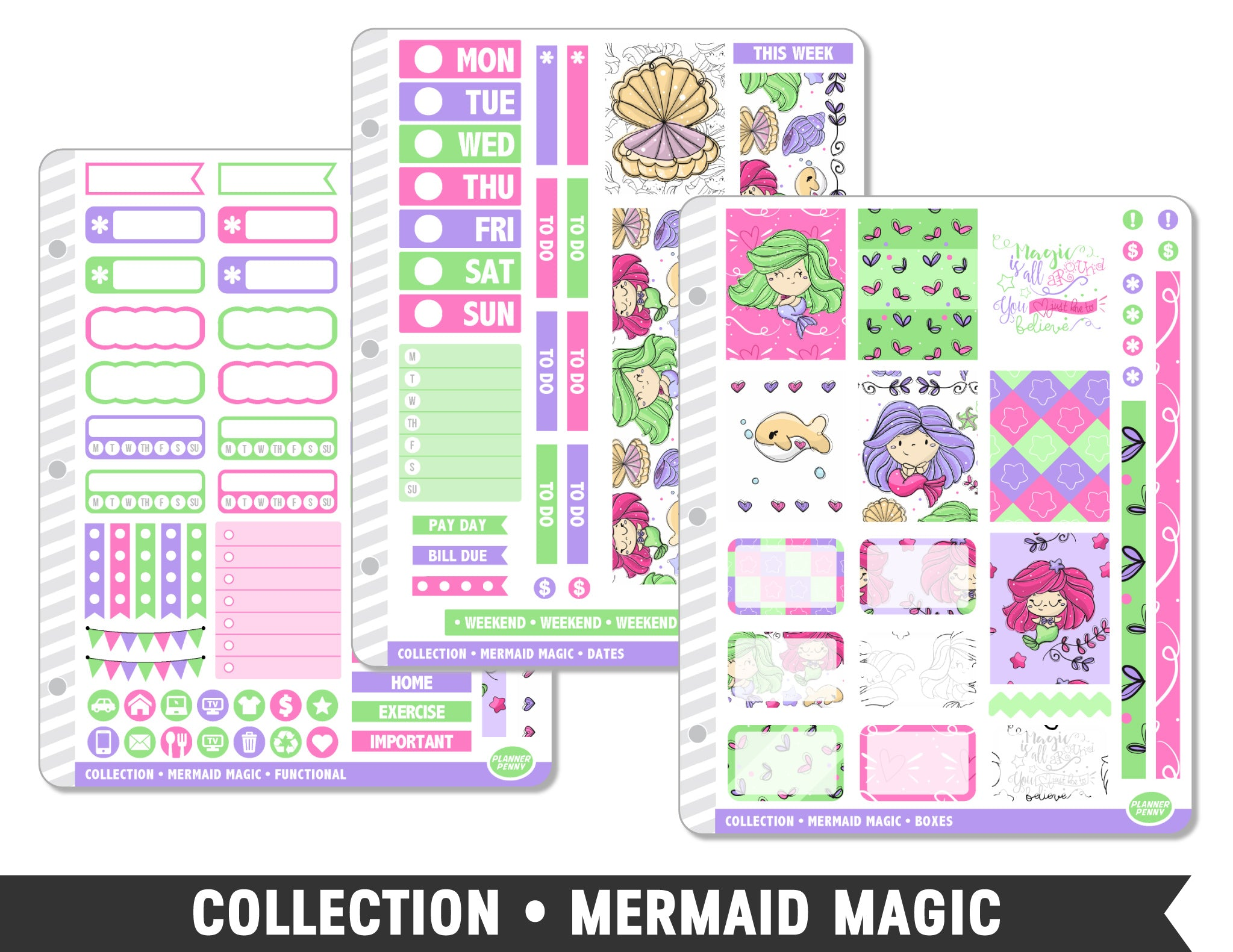 Full Collection • Mermaid Magic Planner Stickers - Planner Penny