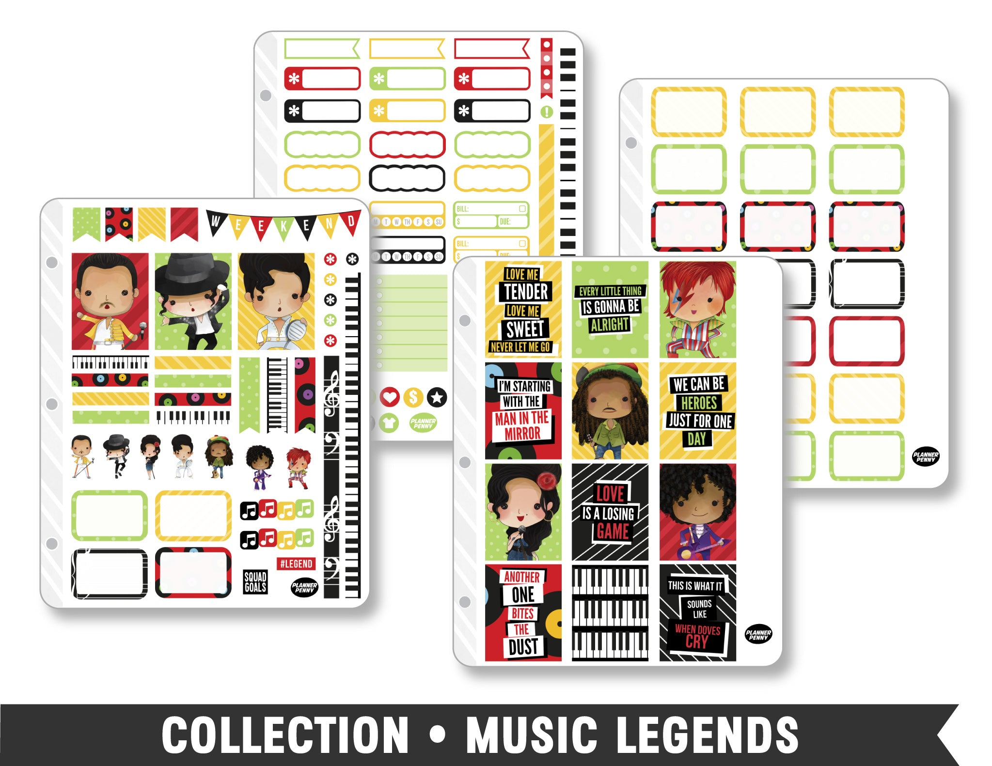 Full Collection • Music Legends Planner Stickers - Planner Penny
