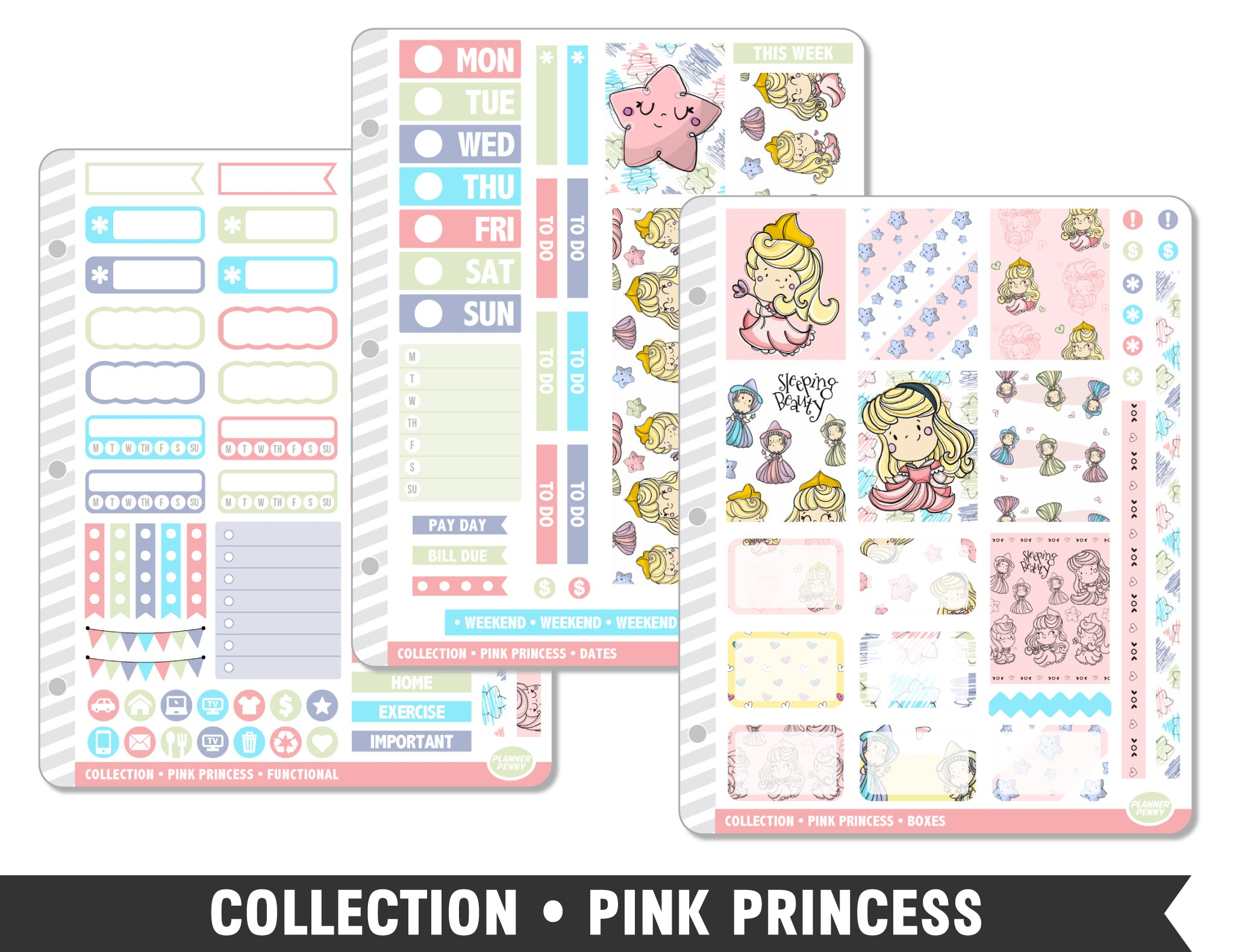 Full Collection • Pink Princess Planner Stickers - Planner Penny