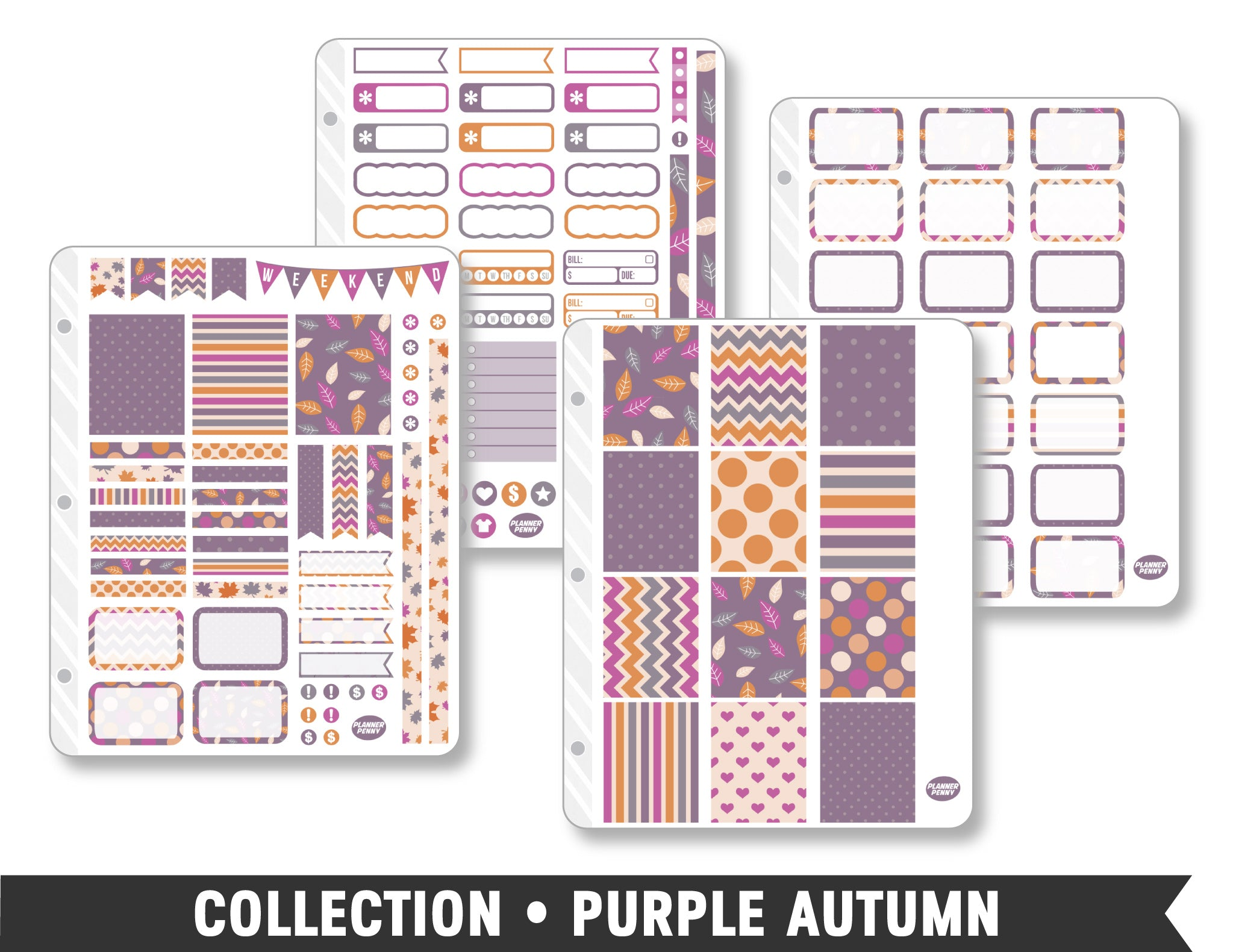 Full Collection • Purple Autumn Planner Stickers - Planner Penny