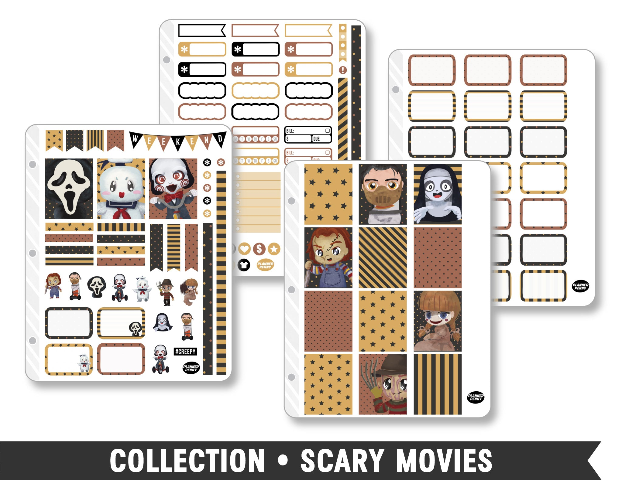 Full Collection • Scary Movies Planner Stickers - Planner Penny