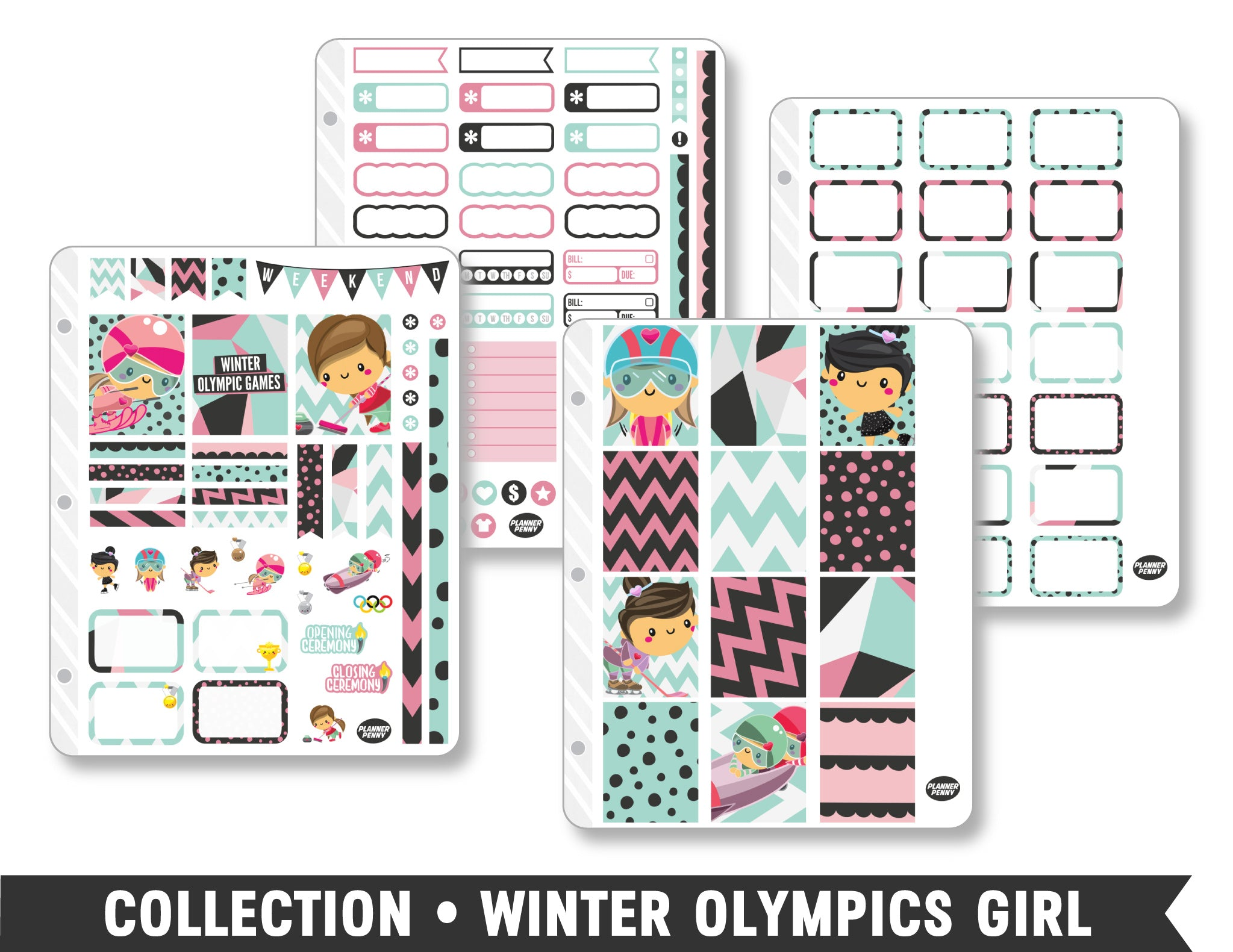 Collection • Winter Olympics Girl Planner Stickers - Planner Penny