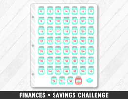 Finances • Savings Challenge Planner Stickers - Planner Penny