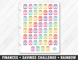 Finances • Savings Challenge Rainbow Planner Stickers - Planner Penny