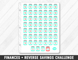 Finances • Reverse Savings Challenge Planner Stickers - Planner Penny