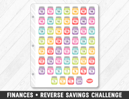 Finances • Reverse Savings Challenge Rainbow Planner Stickers - Planner Penny