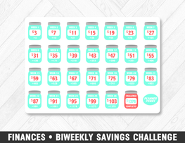 Finances • Biweekly Savings Challenge Planner Stickers - Planner Penny
