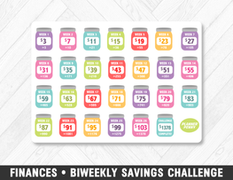 Finances • Biweekly Savings Challenge Rainbow Planner Stickers - Planner Penny