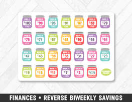 Finances • Reverse Biweekly Savings Challenge Rainbow Planner Stickers - Planner Penny