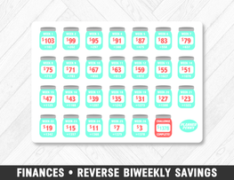 Finances • Reverse Biweekly Savings Challenge Planner Stickers - Planner Penny
