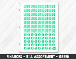 Finances • Bill Assortment Green Planner Stickers - Planner Penny