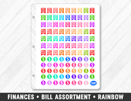 Finances • Bill Assortment Rainbow Planner Stickers - Planner Penny