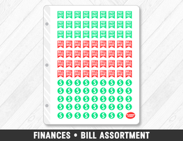 Finances • Bill Assortment Planner Stickers - Planner Penny