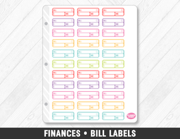 Finances • Bill Labels Planner Stickers - Planner Penny