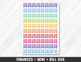 Finances • Mini Bill Due Planner Stickers - Planner Penny