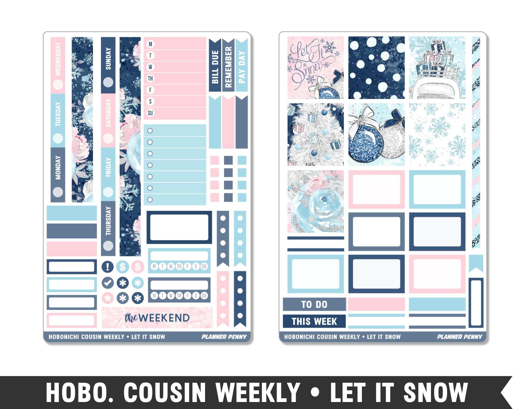 Hobonichi Cousin • Let It Snow • Weekly Spread Planner Stickers