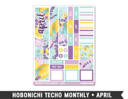 Hobonichi Techo A6 • April • Monthly Spread Planner Stickers