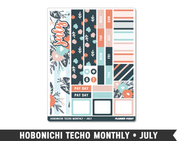 Hobonichi Techo A6 • July • Monthly Spread Planner Stickers