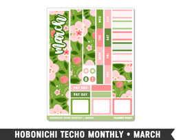 Hobonichi Techo A6 • March • Monthly Spread Planner Stickers - Planner Penny