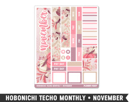 Hobonichi Techo A6 • November • Monthly Spread Planner Stickers - Planner Penny