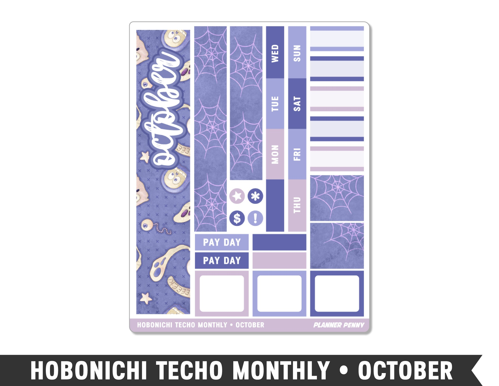 Hobonichi Techo A6 • October • Monthly Spread Planner Stickers - Planner Penny
