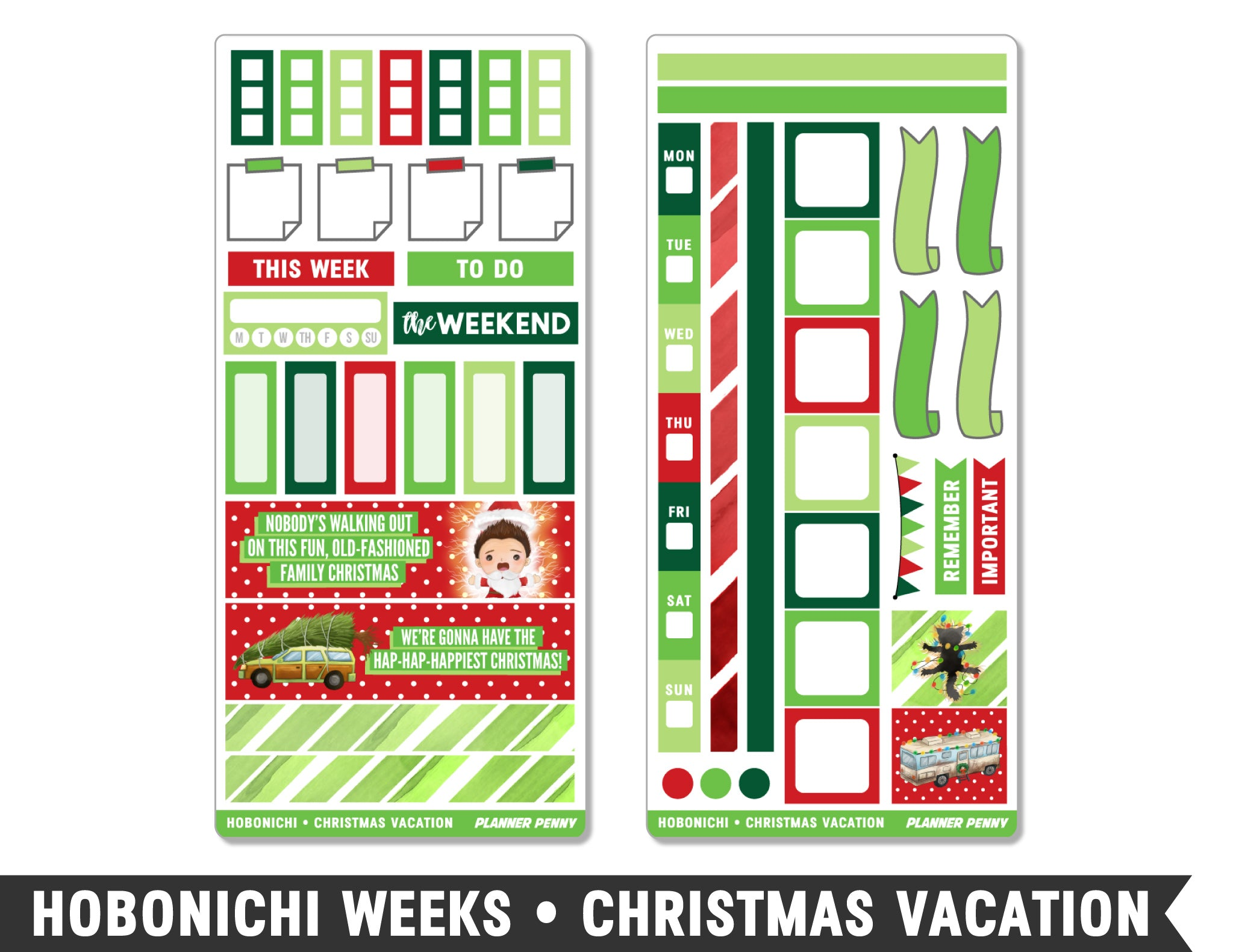 Hobonichi Weeks • Christmas Vacation • Weekly Spread Planner Stickers - Planner Penny
